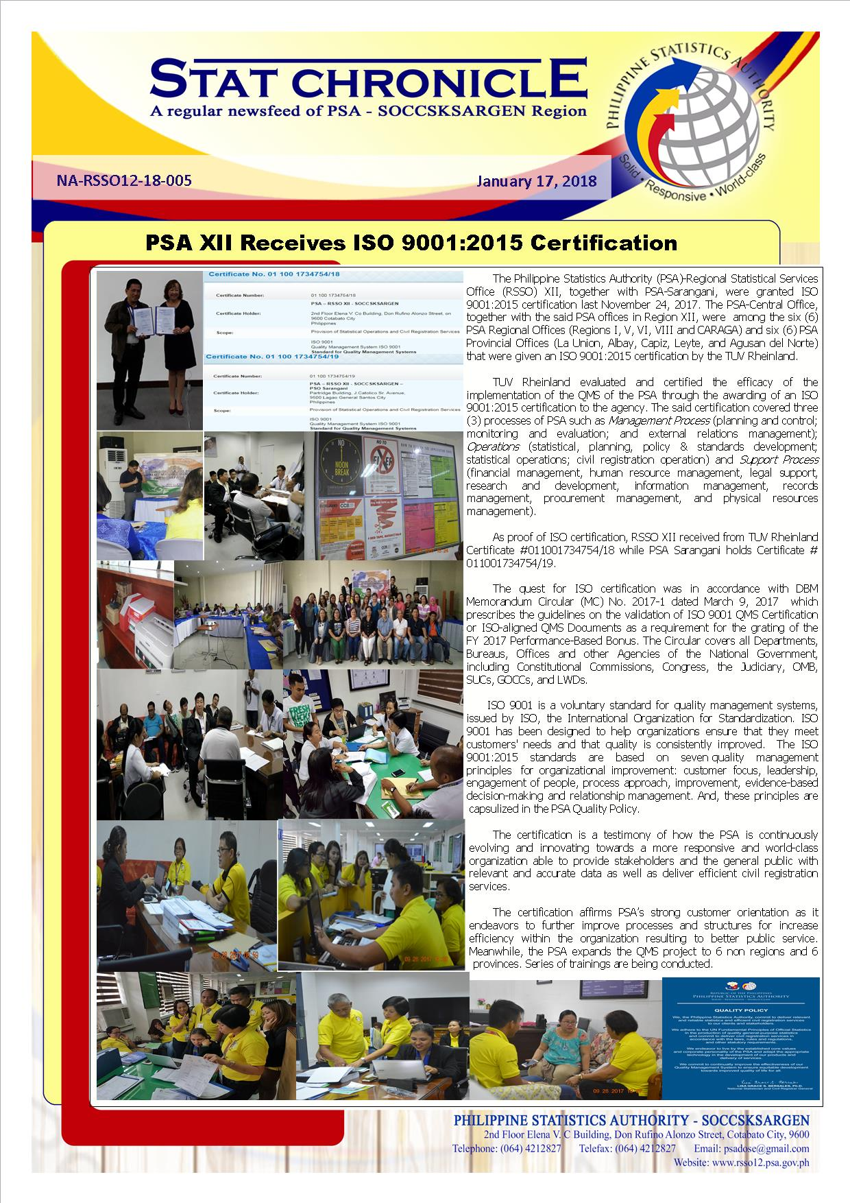 Psa Xii Receives Iso 90012015 Certification Philippine Statistics