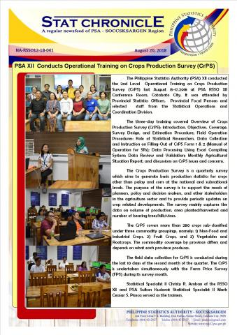 PSA XII Conducts Operational Training on Crops Production Survey